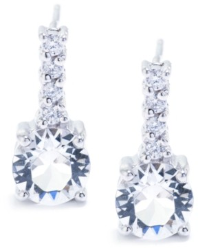 Giani Bernini Swarovski Crystal 6mm with Cubic Zirconia Bar Drop Earring in Sterling Silver. Available in Clear, Blue, Light Blue and Red
