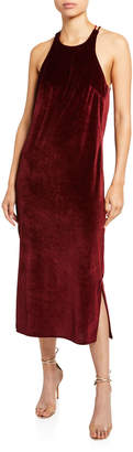 Deveaux New York Velvet Draped Back Dress