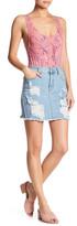 Fire Distressed Denim Skirt