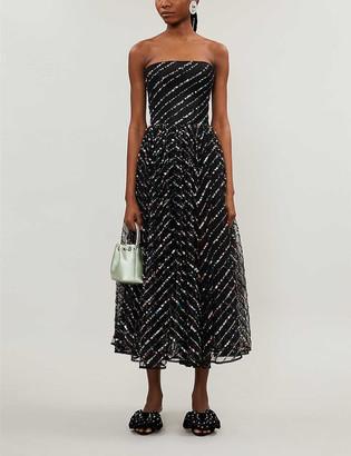 Rasario Sleeveless sheer-sequin maxi dress