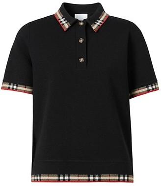 Burberry Lola Check-Trim Polo Shirt
