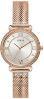 GUESS Silver Crystal Set Dial Rose Gold Stainless Steel Mesh Strap Ladies Watch