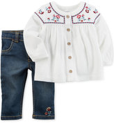 Carter's 2-Pc. Embroidered Tunic and Jeans Set, Baby Girls (0-24 months)