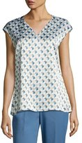 Lafayette 148 New York Bryson Cap-Sleeve Havana Hexagon-Print Silk Blouse, Multi