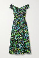 Thumbnail for your product : Jason Wu Collection Floral-print Cotton-sateen Midi Dress - Black