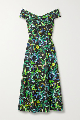 Jason Wu Collection Floral-print Cotton-sateen Midi Dress - Black