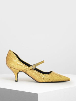 Charles & Keith Sequin Mary Jane Pumps