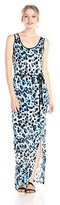 Kensie Women's Sleeveless Colorful Water Spots Maxi Dress