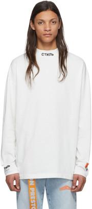 Heron Preston White Turtleneck Style Long Sleeve T-Shirt