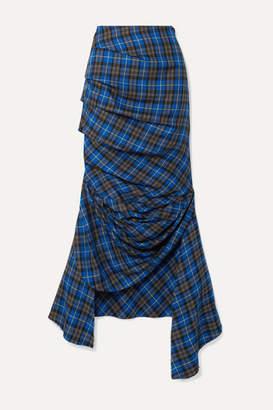 A.W.A.K.E. Mode Gathered Checked Twill Midi Skirt - Cobalt blue