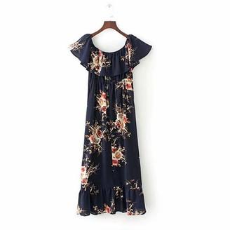 Leedy Clothing LEEDY Women's Casual Loose Word Collar Ruffled Printed Elastic Waist Fishtail Dress Slanted Collar Long Dress Navy