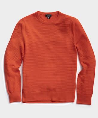 Todd Snyder Italian Merino Waffle Crew Sweater in Orange