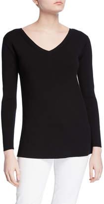 Lafayette 148 New York Wide V-Neck Long-Sleeve Matte Crepe Sweater
