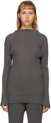 LAUREN MANOOGIAN Grey Column Mock Neck Sweater