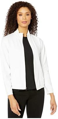Mod-o-doc Cotton Interlock Zip Front Funnel Neck Jacket (White) Women's Clothing