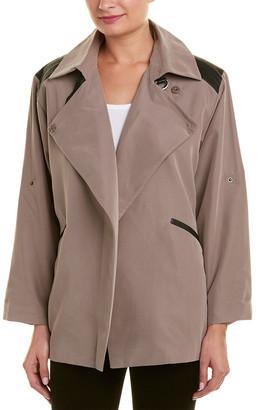 Stella & Jamie Leather-Trim Wrap Jacket