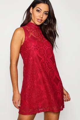 boohoo Lace High Neck Shift Dress