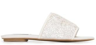 Badgley Mischka Sequin Upper Flat Sandals
