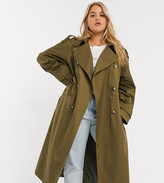 Asos DESIGN Curve longline trench coat in khaki