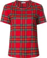 P.A.R.O.S.H. tartan check T-shirt