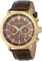 Lucien Piccard Men's 12011-YG-04 Monte Viso Chronograph Textured Dial Leather Watch