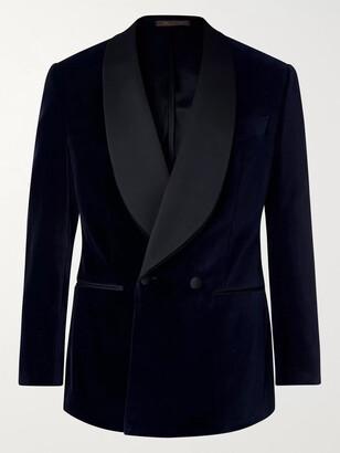 Thom Sweeney Navy Slim-Fit Double-Breasted Satin-Trimmed Cotton-Velvet Tuxedo Jacket