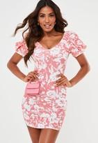 Missguided Pink Floral Scuba Puff Sleeve Mini Dress