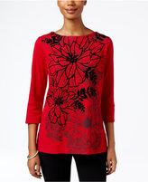 Karen Scott Embellished Floral-Print Top, Only at Macy's