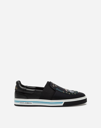 Dolce & Gabbana Calfskin Nappa Roma Slip-On Sneakers With Diver-Style Patches Of The Designers