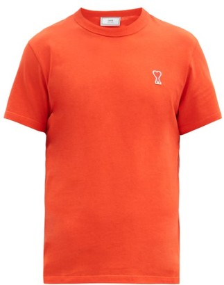 Ami Logo-patch Cotton-jersey T-shirt - Orange