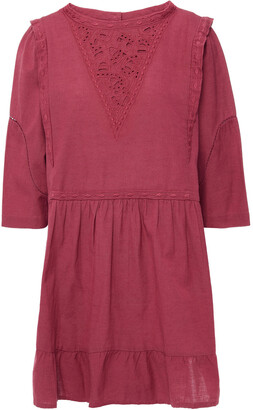 BA&SH Lune Broderie Anglaise-trimmed Cotton And Linen-blend Mini Dress