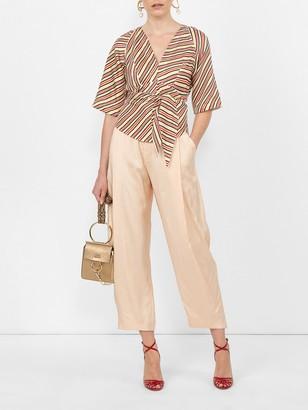 Calvin Klein Striped Back Tie Blouse Multicolor