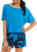 Lucy Dream On Round Neck Short Sleeve Solid Cropped Top