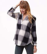 LOFT Maternity Plaid Tie Cuff Split Neck Shirt