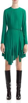 Maje Romea Belted Ruffled Dress