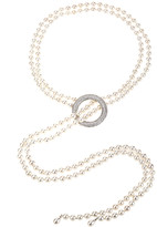 Eye Candy La Shell Pearl Double Loop Strand Necklace With Cz