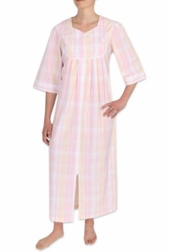 Miss Elaine Plaid Seersucker Long Zipper Robe