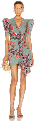 PatBO Floral Belted Drape Mini Dress in Dusty Blue | FWRD