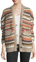MiH Jeans Martello Striped Button-Front Cable-Knit Cardigan