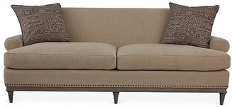 Mr & Mrs Howard Paris Sofa - Oatmeal frame, hickory ash; upholstery, oatmeal; pillows, coffee/cream; nailheads, bronze