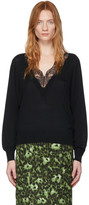 Chloé Black Wool and Silk Lace V-Neck Sweater