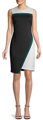 Tommy Hilfiger Colorblock Asymmetrical Scuba Sheath Dress
