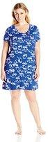 Shadowline Women's Plus Size Sleepshirt-Soft, Short Sleeve Nightshirt