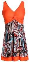 Ecupper One Piece Shaping body Floral Swimwear Plus Bathing suit 3XL(US 22W-24W)