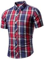 Elonglin Men's Button Down Shirt Checkered Summer Casual Shirt Short Sleeves Slim Fit N°12