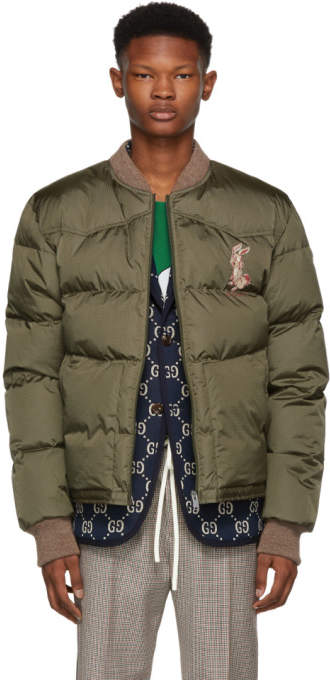 Gucci Green Embroidered Down Jacket