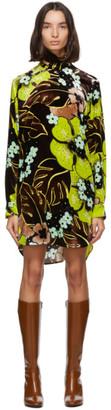 Dries Van Noten Brown Velvet Floral Short Dress