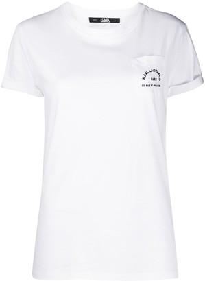 Karl Lagerfeld Paris logo-print one pocket T-shirt