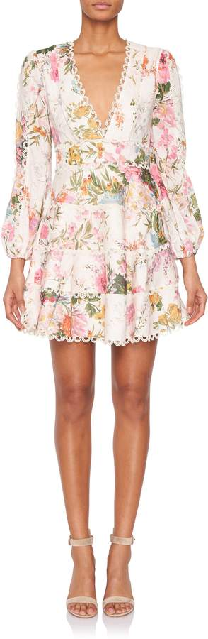 Zimmermann Heathers Longsleeve Floral Flounce Dress