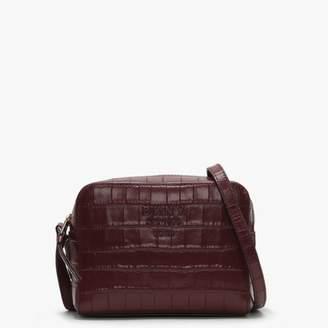 DKNY Noho Blood Red Leather Moc Croc Camera Bag